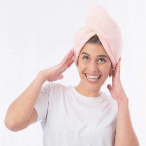 מגבת כובע מיקרופייבר ורודה